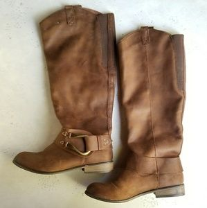 Brown Faux Seude Tall Boots sz 9
